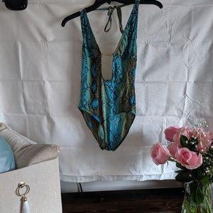 Michael Kors Turquoise Python swimsuit